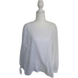 J.Crew white cotton blouse with bow sleeve XXL